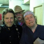 "Original Cast Members of the 1960s, Grateful Dead lyricist John Perry Barlow, outlaw musicologist and archivist Glenn Allen Howard and David Nelson of the New Riders of the Purple Sage and DNB backstage at the Great American Music Hall, posing as the three wise guys from ""Orient Are,"" wherever the hell ""Orient Are"" is."
