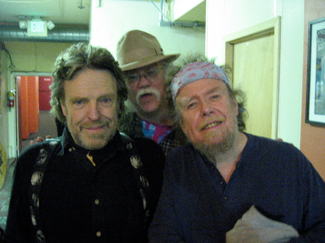 Original Cast Members of the 1960s, Grateful Dead lyricist John Perry Barlow, outlaw musicologist and archivist Glenn Allen Howard and David Nelson of the New Riders of the Purple Sage and DNB backstage at the Great American Music Hall, posing as the three wise guys from