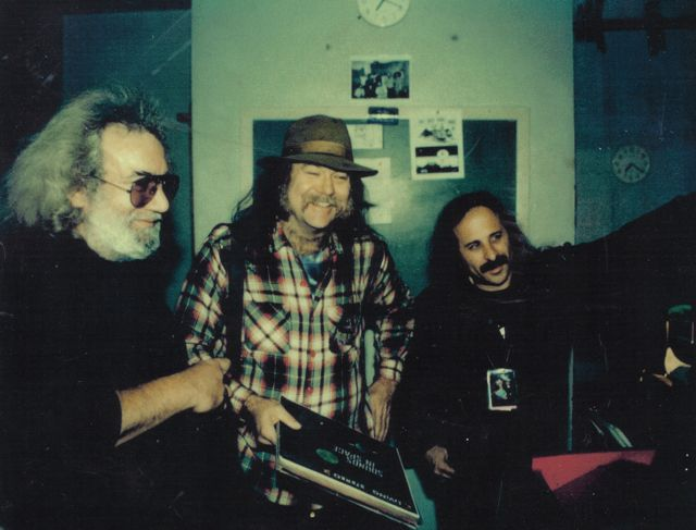 Jerry Garcia, Glenn Allen Howard and Steve Brown New Year's Eve, 1992. Glenn is holding a few of a large stack of Ken Nordine records moments before we all crashed David Gans' NYE broadcast with the voice of