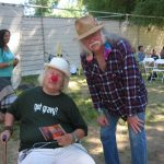 Glenn backstage with Advisory Board member Wavy Gravy at the Kate Wolf Festival 2009. Saint Misbehavin' (aka Hugh Romney) has been on the scene since like almost before there was a scene to be on.