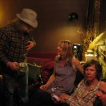 Backstage at SF's Independent with the notorious No-Wave Avant-Gardeners Kim Gordon and Thurston Moore of Sonic Youth for a rare small club gig. I love modern bands whose roots go really deep, and SY is as down with Jelly Roll Morton and Bukka White as they are with Berio, Ives and Ornette.